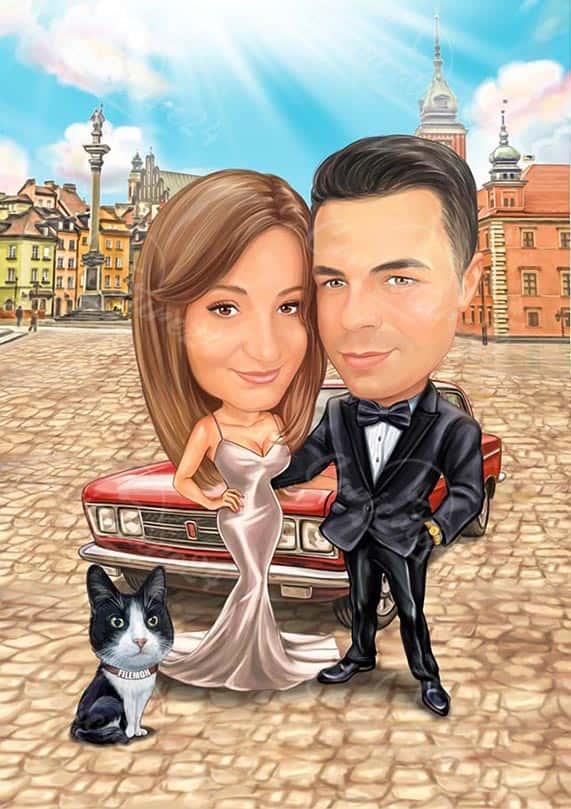 Дигитална карикатура двойка с кола