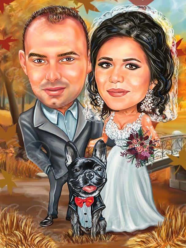 Есенна сватбена карикатура с куче