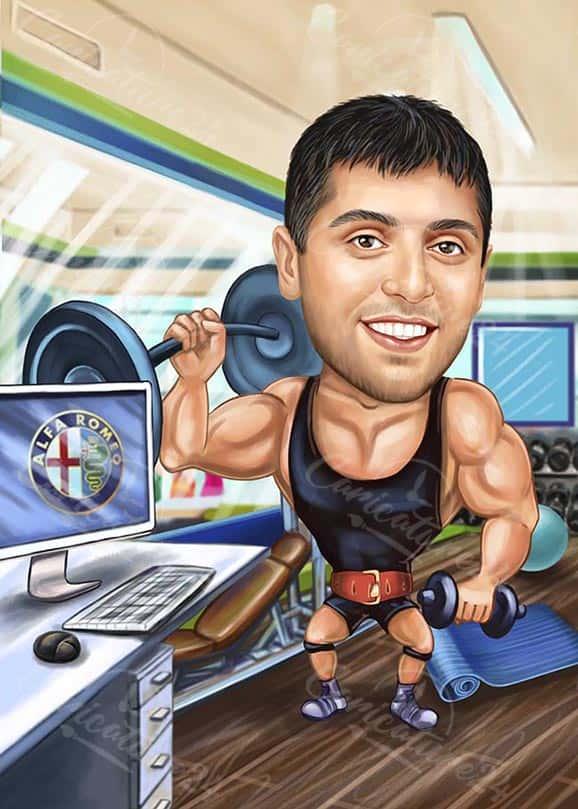 Фитнес карикатура за програмист