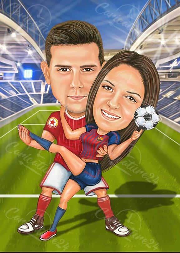 Футболна карикатура за двойка