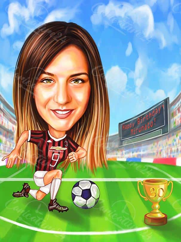 Футболна карикатура за жена на 30 години