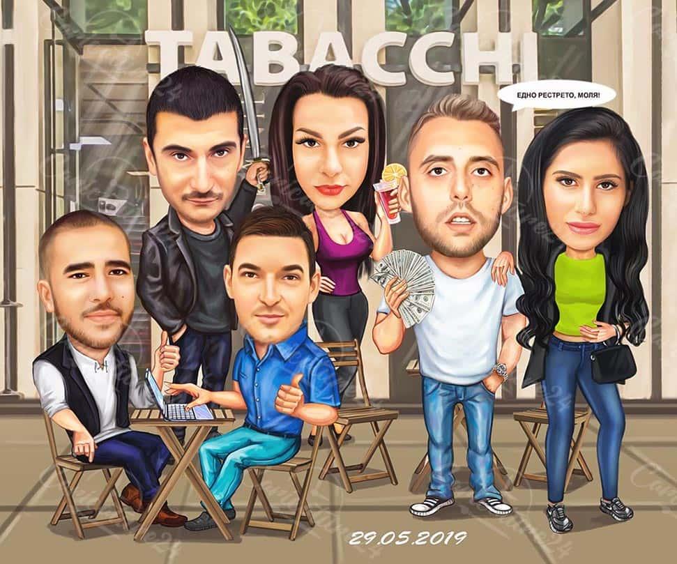 Групова карикатура с 6 лица