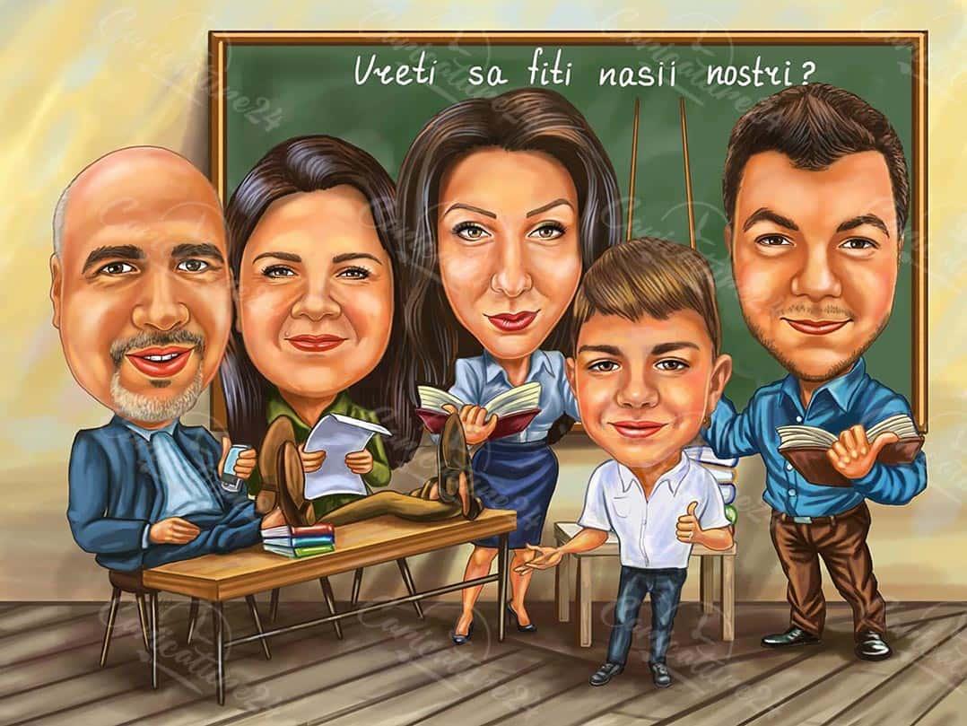 Групова карикатура в училище
