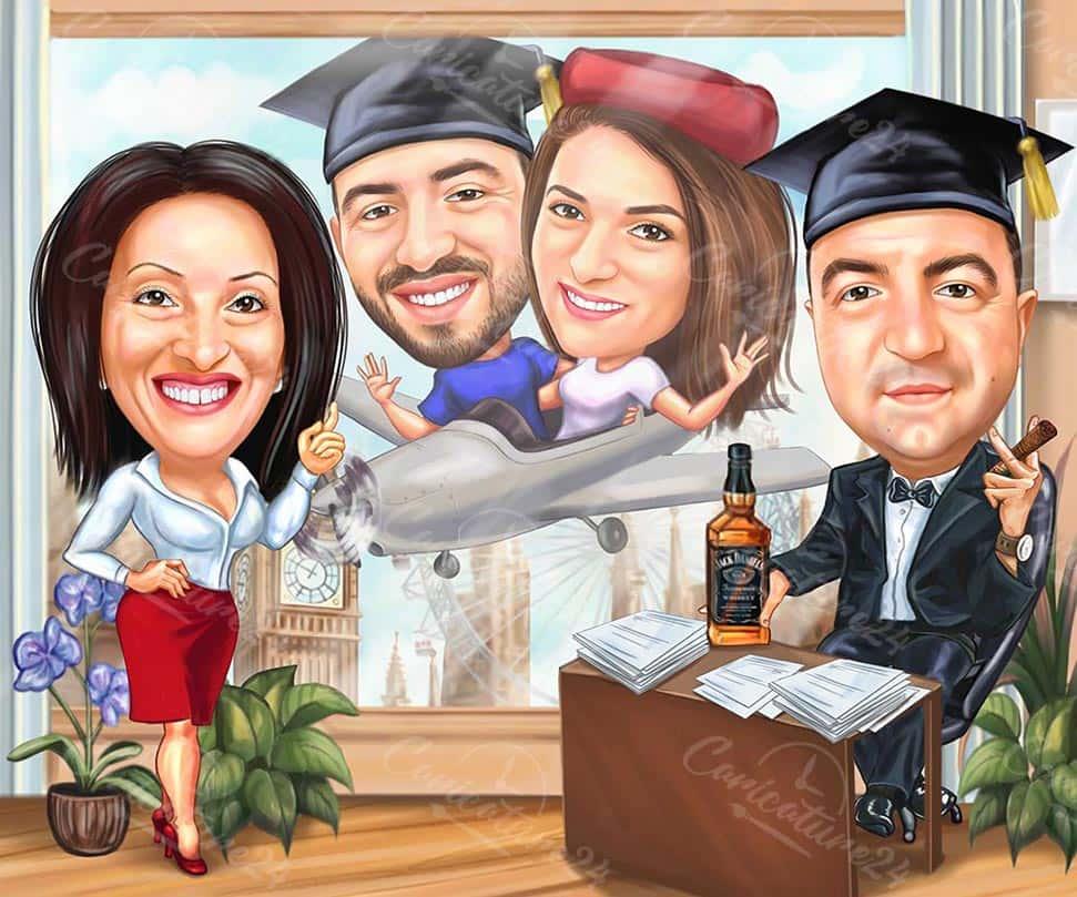Групова карикатура за дипломиране