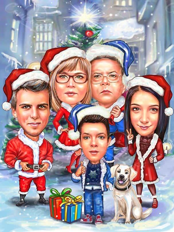 Групова Коледна карикатура