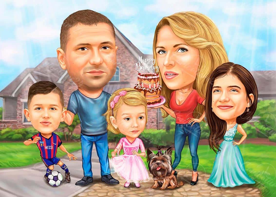 Групова семейна карикатура