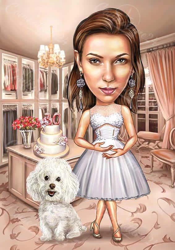 Карикатура 30 годишен юбилей на жена