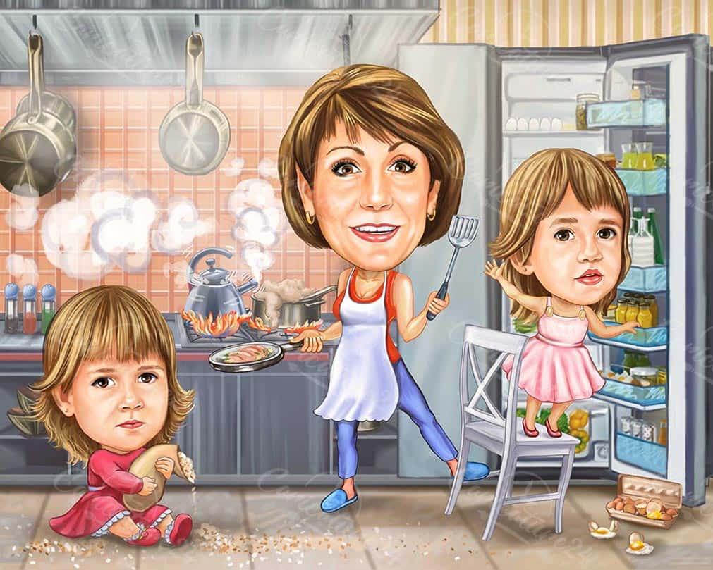 Карикатура баба и внучета