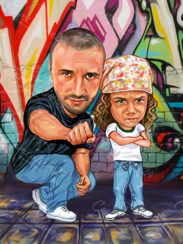 Карикатура баща и момиченце