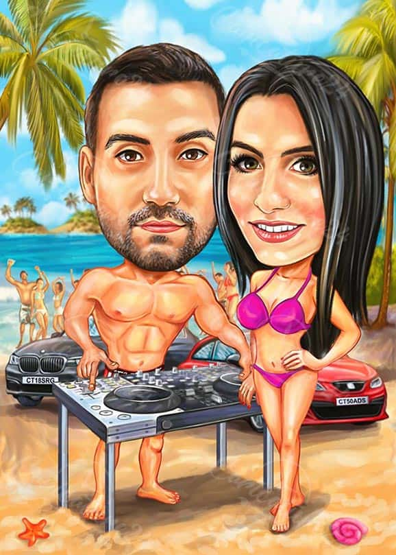 Карикатура DJ на плажа