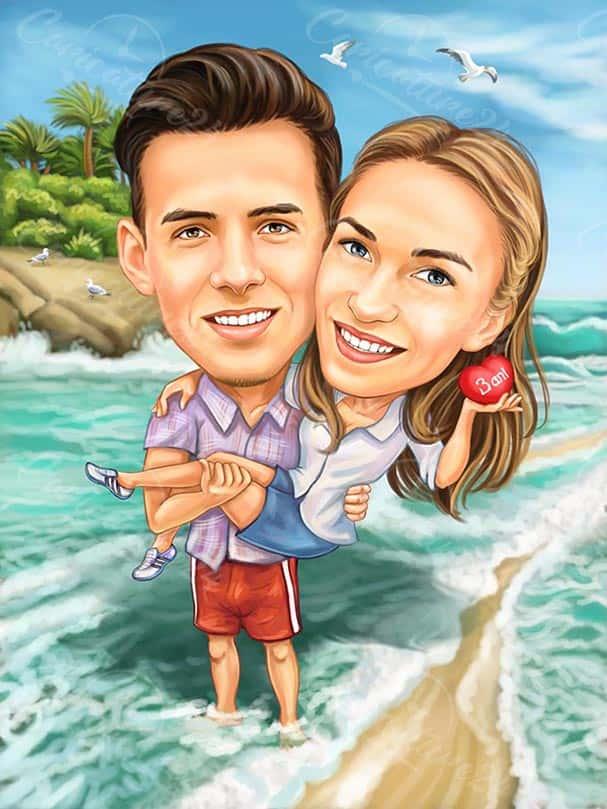 Карикатура двойка на морето