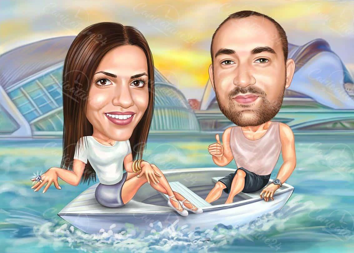 Карикатура годеж на лодка