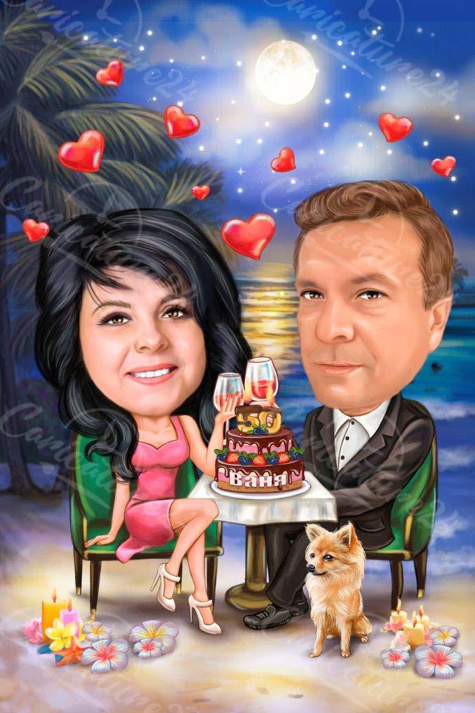 Карикатура годишнина за двойка с торта