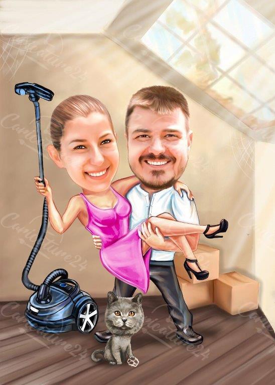 Карикатура идея за подарък за нов дом