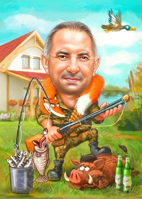 Карикатура ловец и рибар