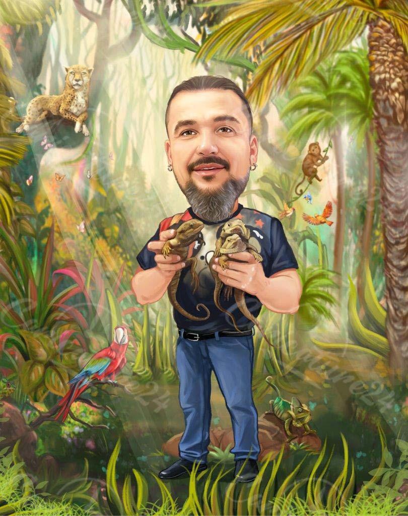 Карикатура мъж на планина с животни