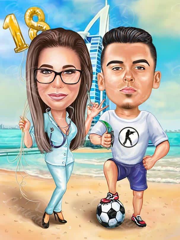 Карикатура на двойка в Дубай