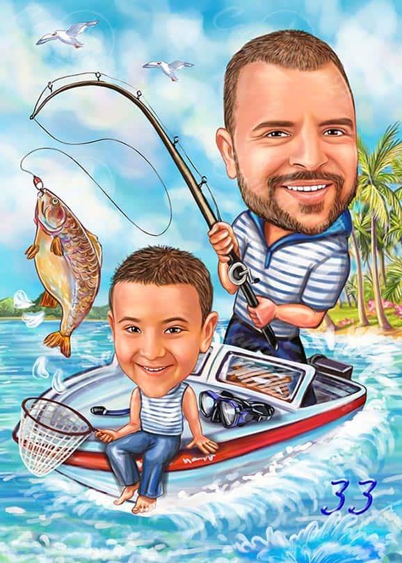 Карикатура на кораб с дете