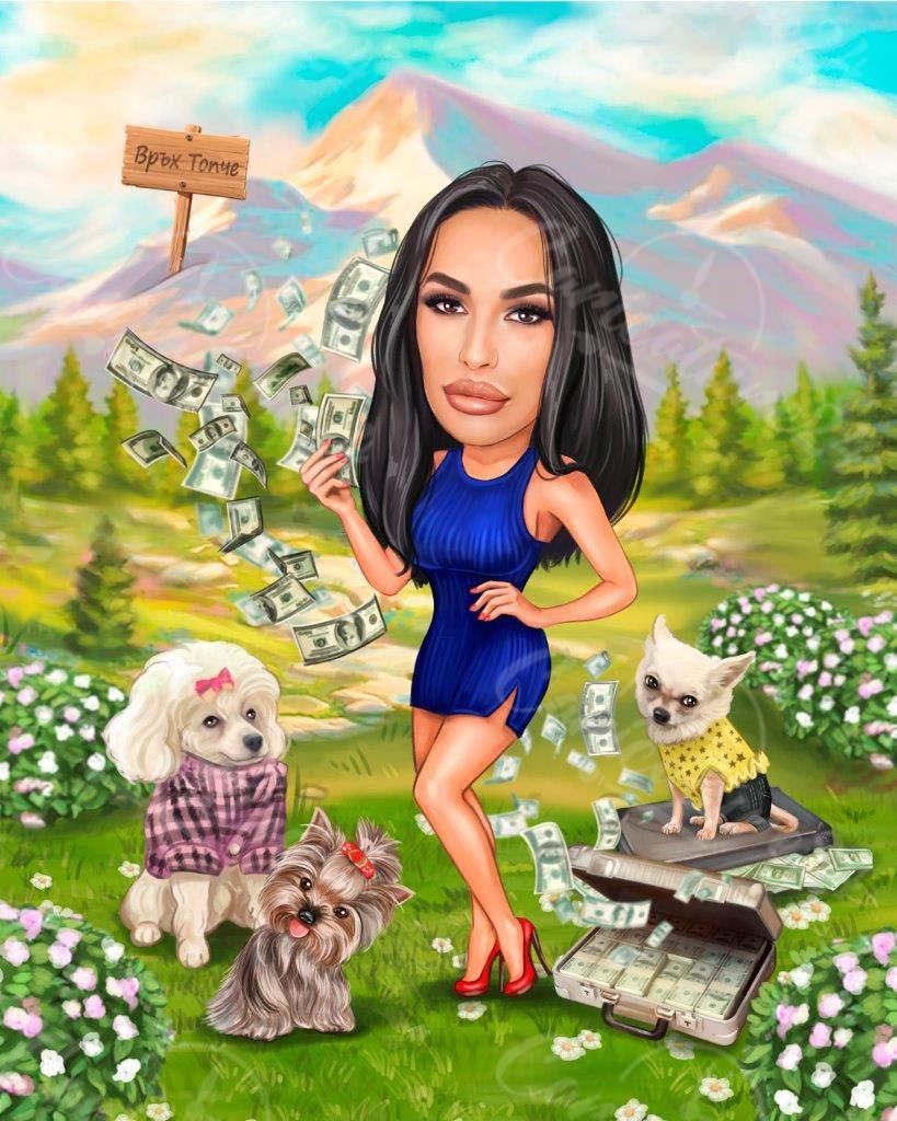 Карикатура на планина с кучета