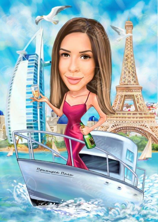 Карикатура на яхта