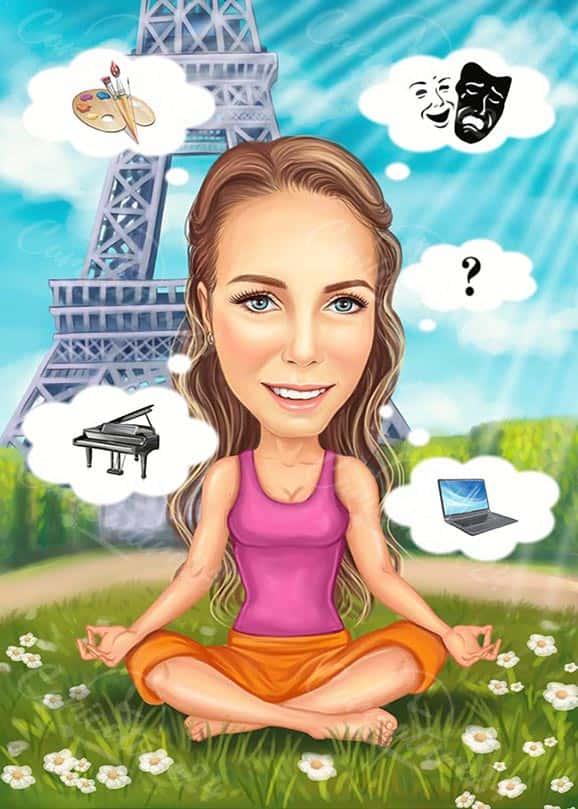 Карикатура на йога в Париж