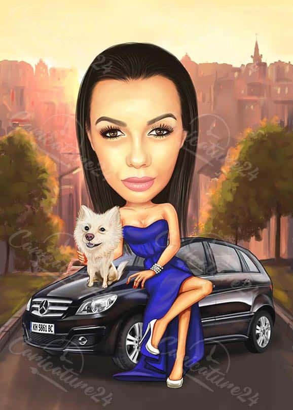 Карикатура на жена с куче