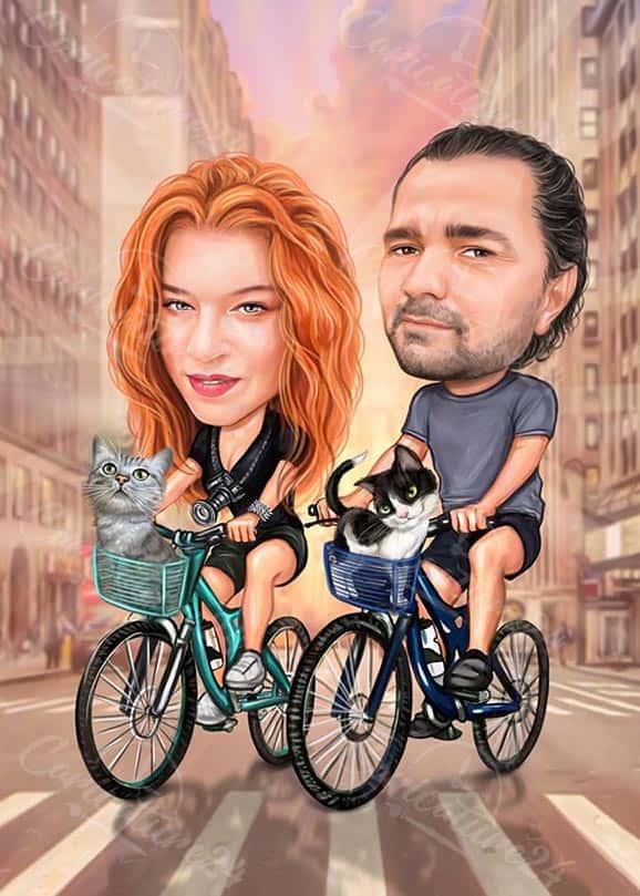 Карикатура по снимка двойка с котки