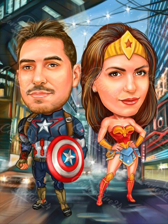 Карикатура подарък на двойка супергерои