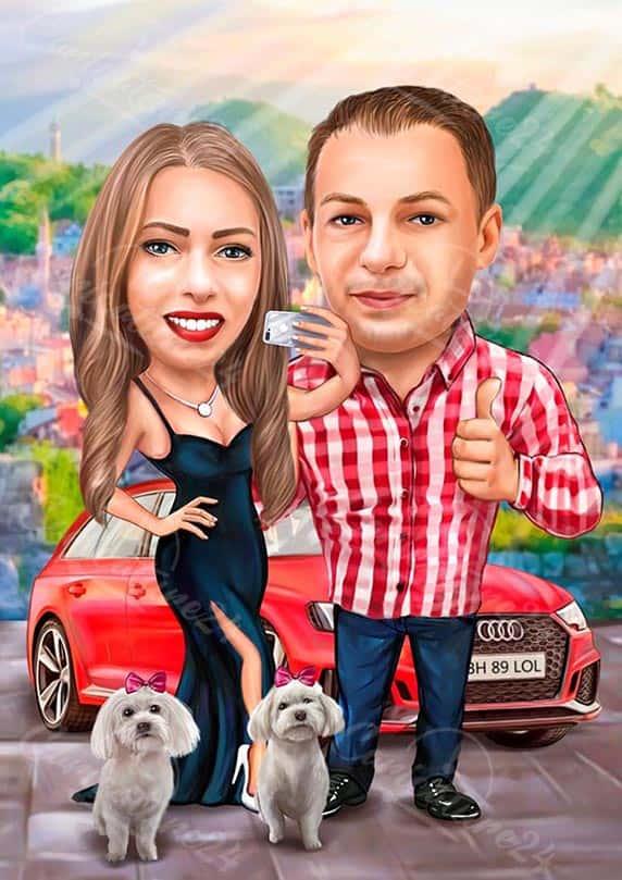 Карикатура подарък за двойка с кола