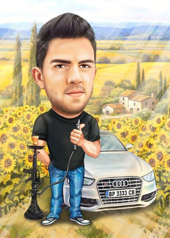 Карикатура подарък за фермер с наргиле