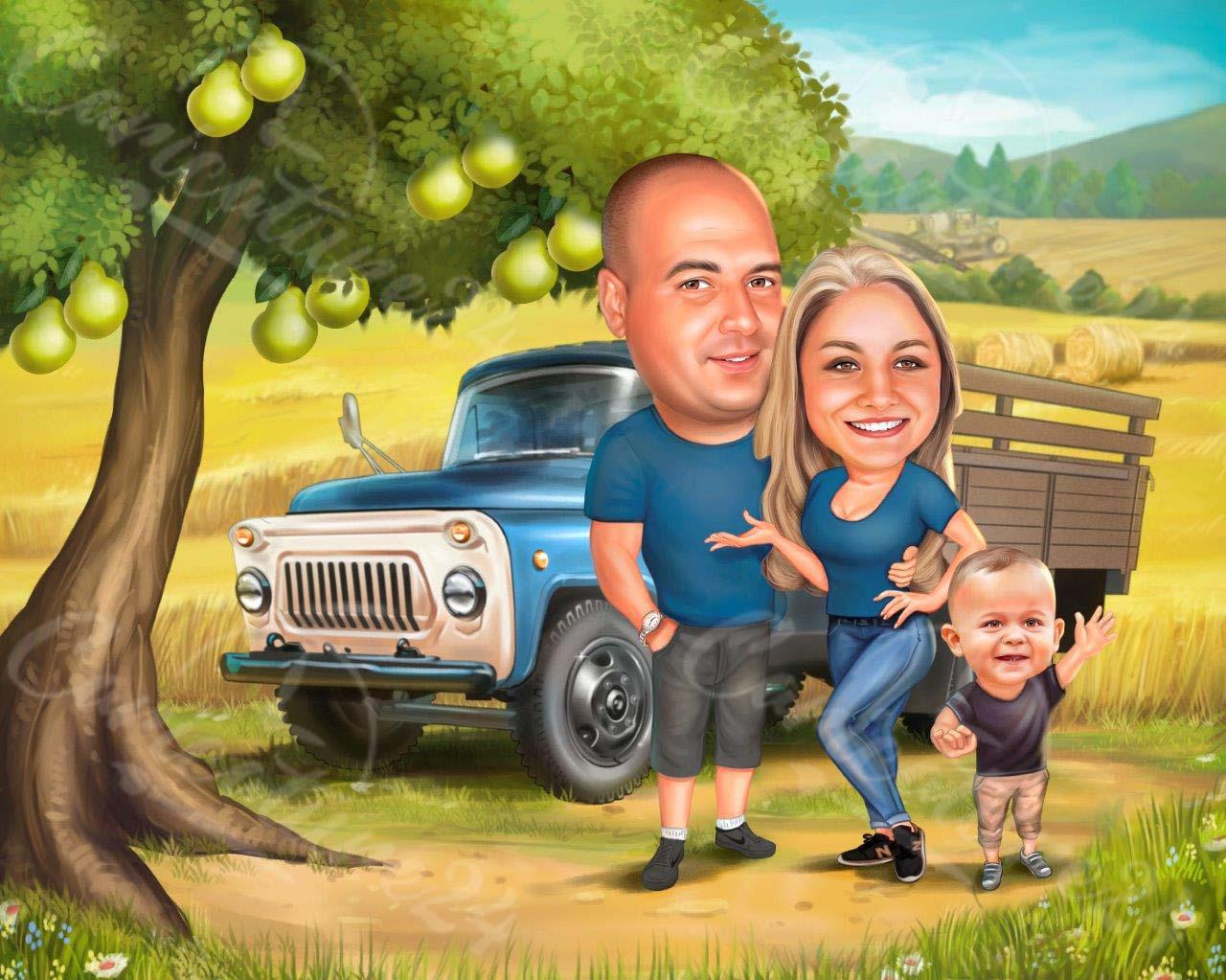 Карикатура подарък за семейство фермери