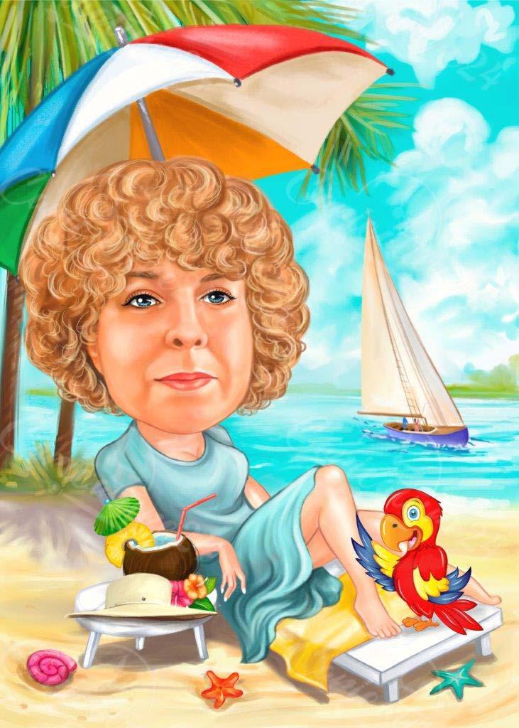 Карикатура подарък за жена с папагал