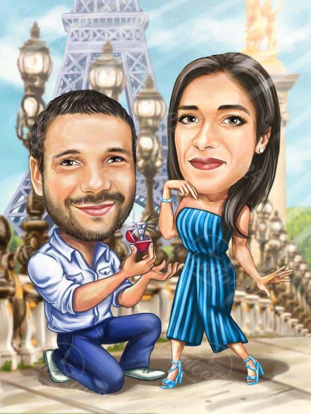 Карикатура предложение за брак в Париж
