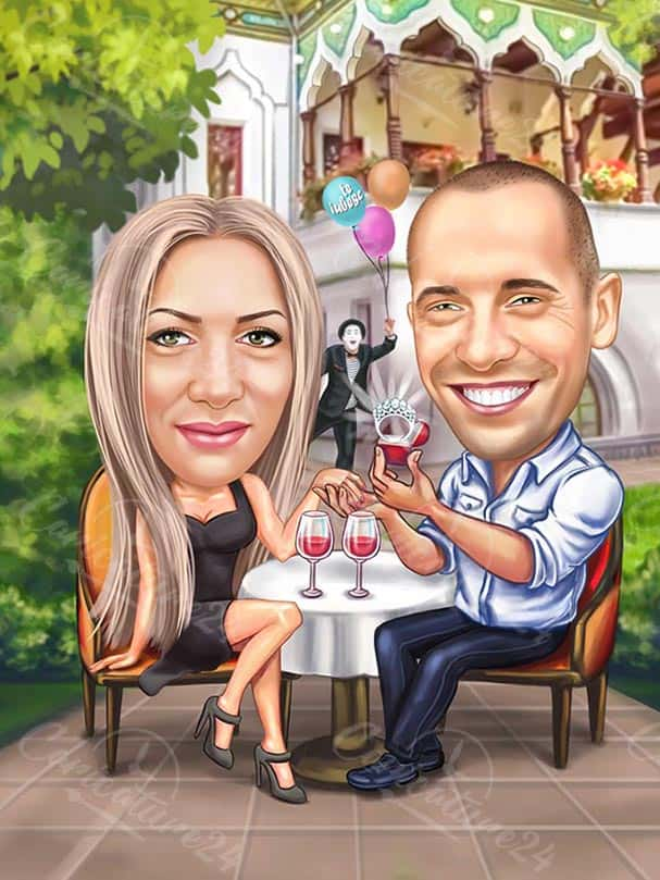 Карикатура предложение за годеж в ресторант