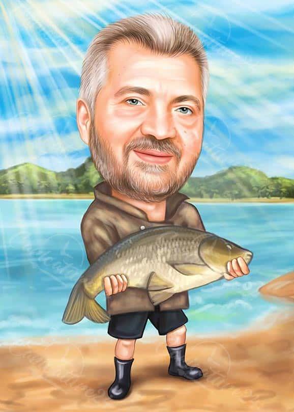 Карикатура рибар