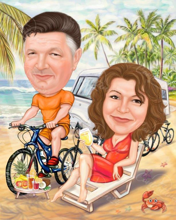 Карикатура романтичен подарък за двойка