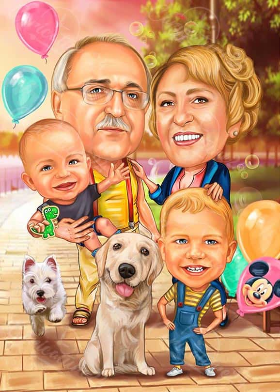 Карикатура с баба и дядо