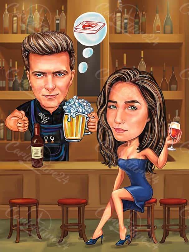 Карикатура с дама на бара