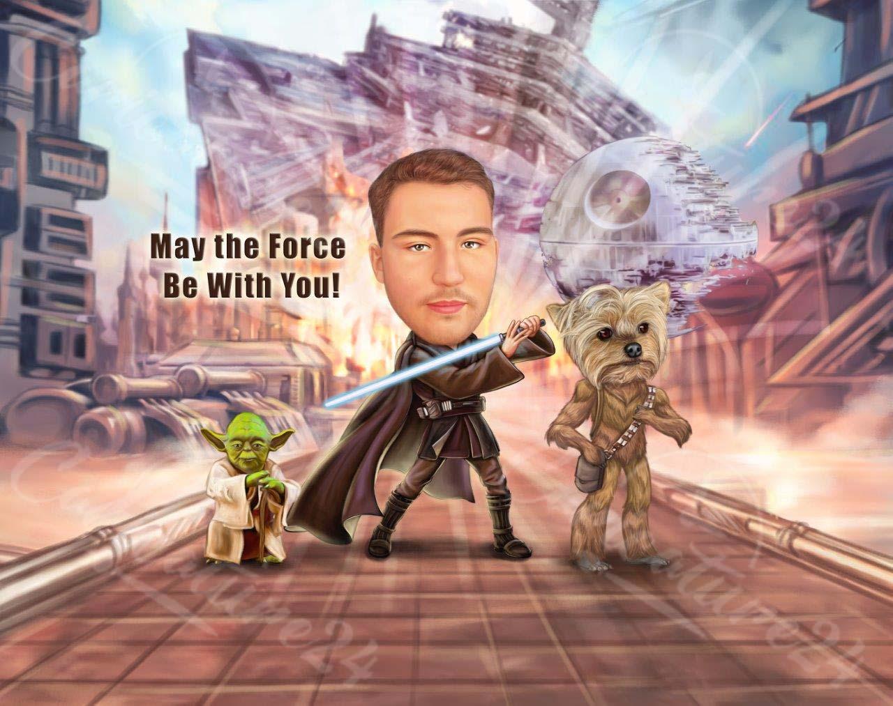 Карикатура с герой от Междузвездни войни