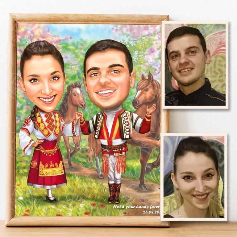 Карикатура с народни носии