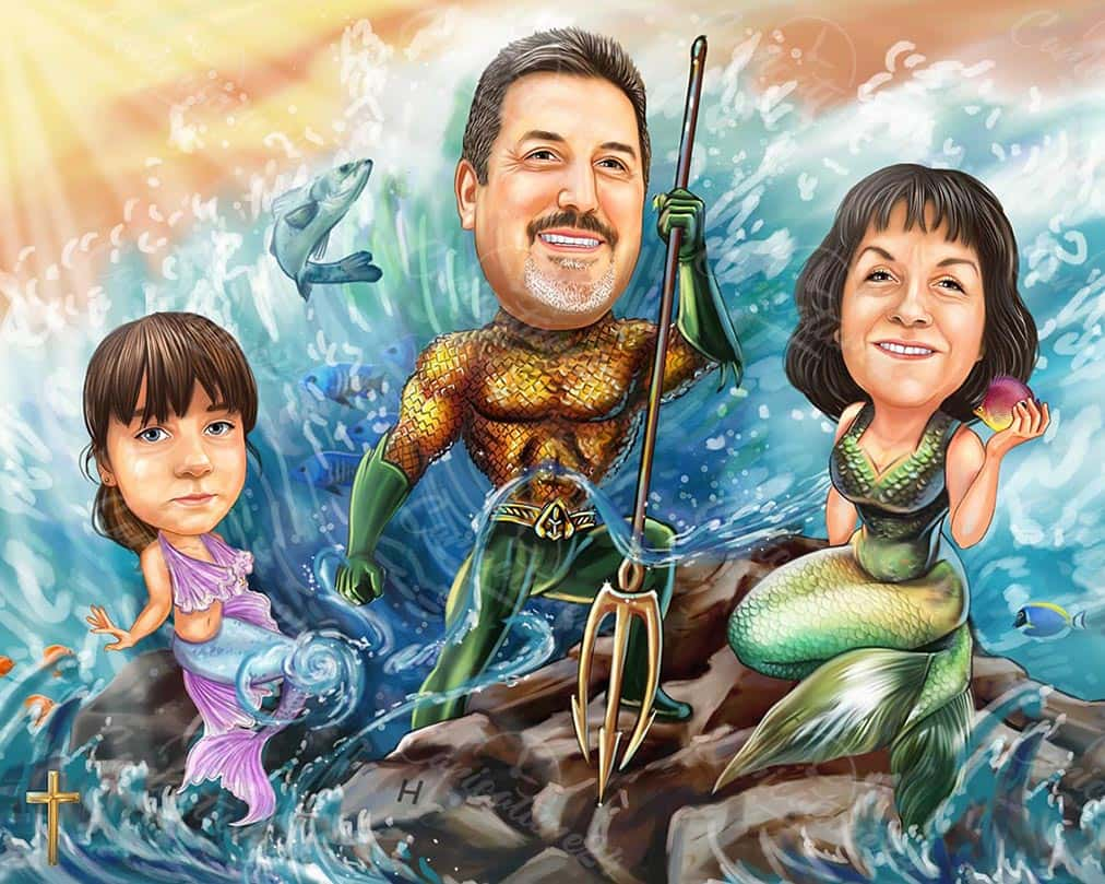 Карикатура семейство русалки