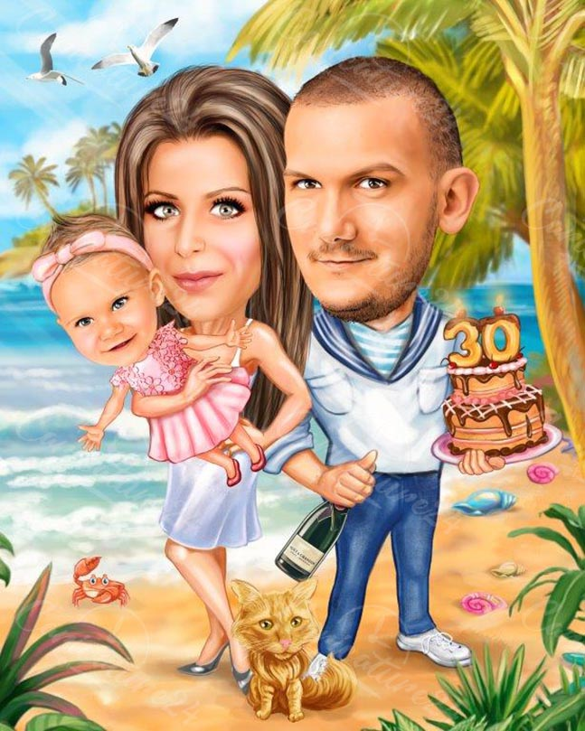 Карикатура семейство с торта на плажа