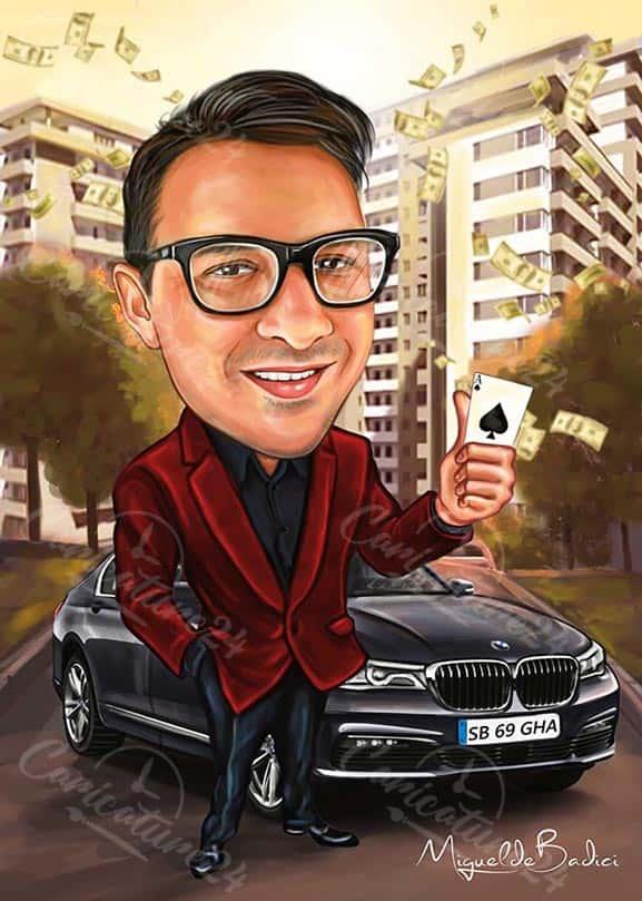 Карикатура за бизнесмен с БМВ