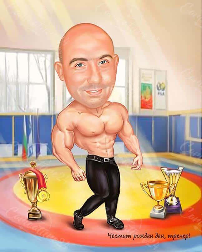 Карикатура за борец с купи