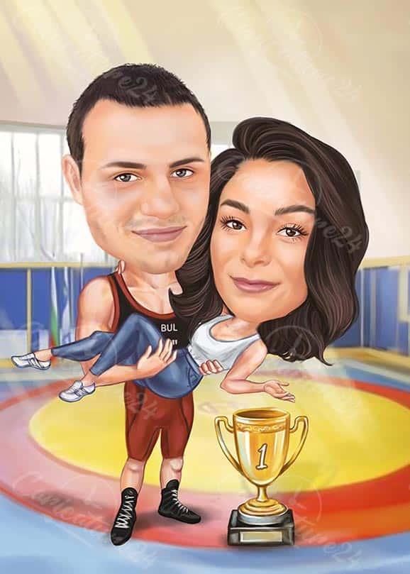 Карикатура за борец с жена