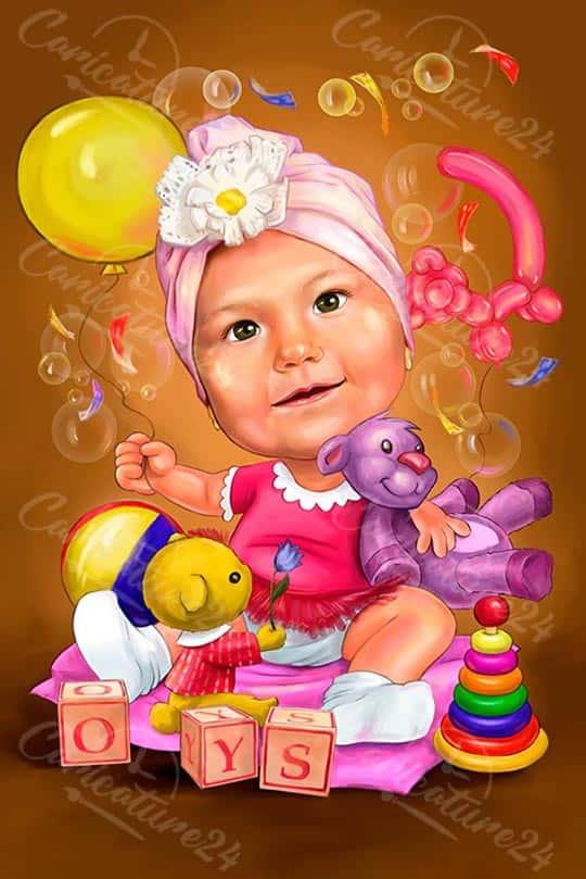Карикатура за дете с играчки