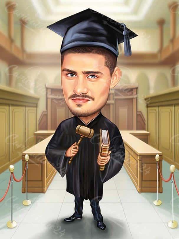 Карикатура за дипломиране на адвокат