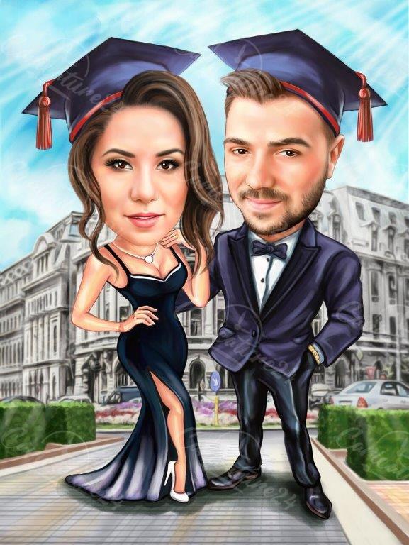 Карикатура за дипломиране на момче и момиче