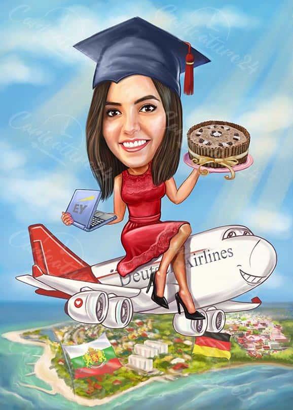 Карикатура за дипломиране на момиче