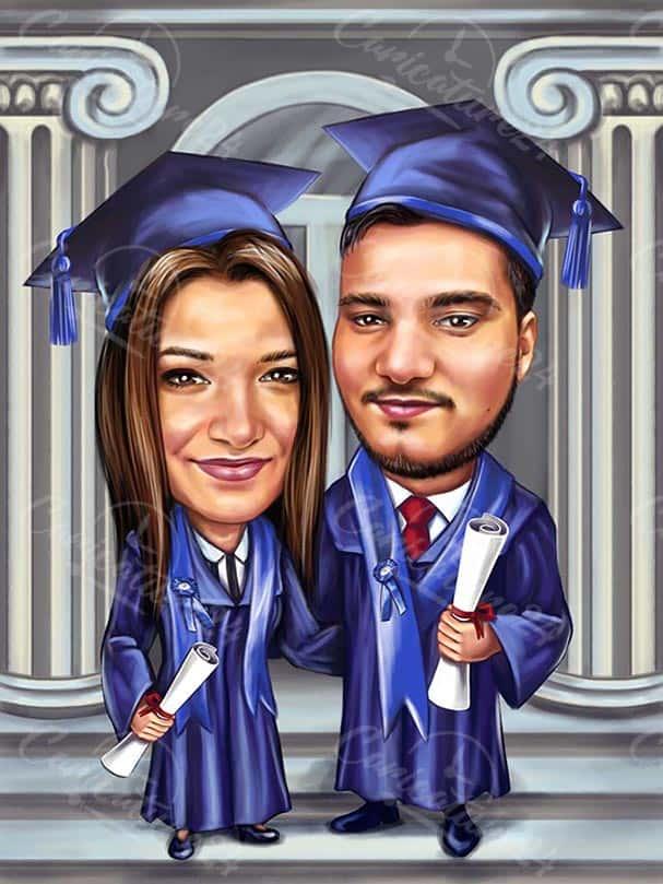 Карикатура за дипломиране на приятели